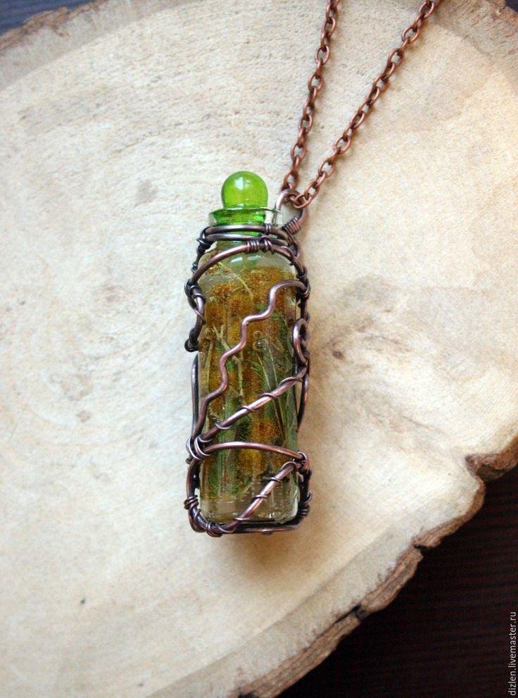 """Купить Кулон """"Весеннее зелье"""" - зеленый, пузырек, бутылочка, кулон бутылочка, зелье, колдовское зелье"""