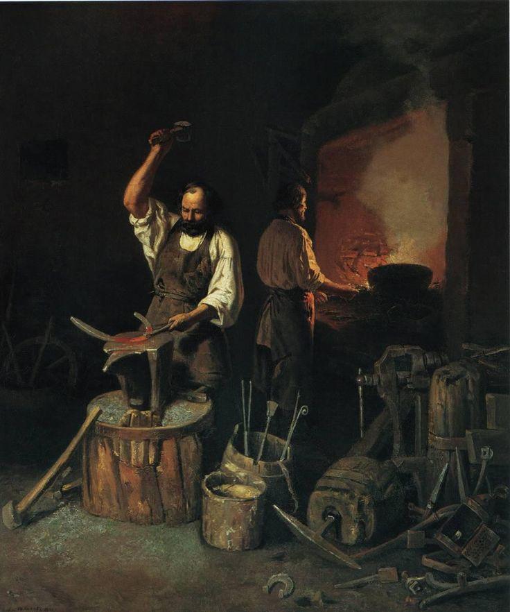 Лавр Плахов. Кузница. 1845