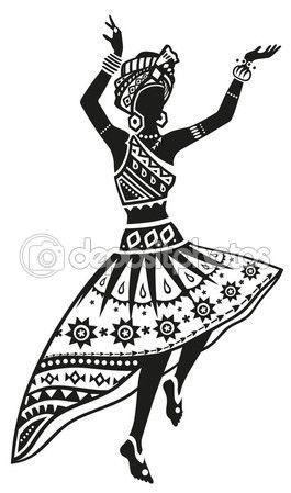 Mujer africana de danza étnica — Vector de stock #118631514