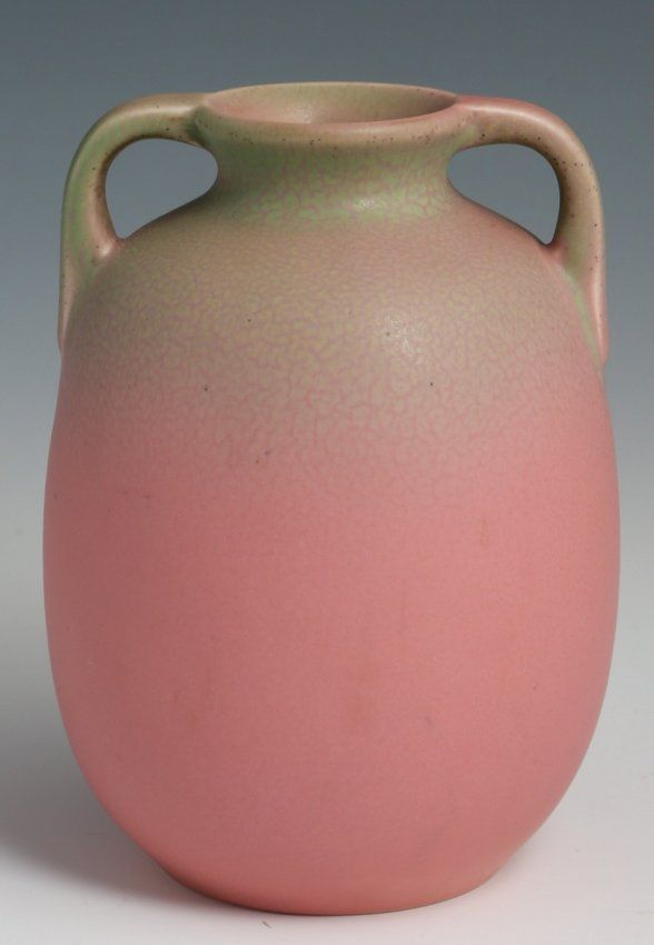 ROOKWOOD POTTERY VASE #2077 1928 PINK & GREY MATTE A matte pink and grey vase by Rookwood Pottery of Cincinnati Ohio, #2077, dated 1928.