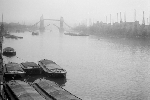 How London looked in the late 1950s, taken by Paolo Tich, my father. Looking upstream I think.
