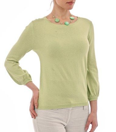 Wool Overs Womens Blouse Sleeved Jumper Pistachio