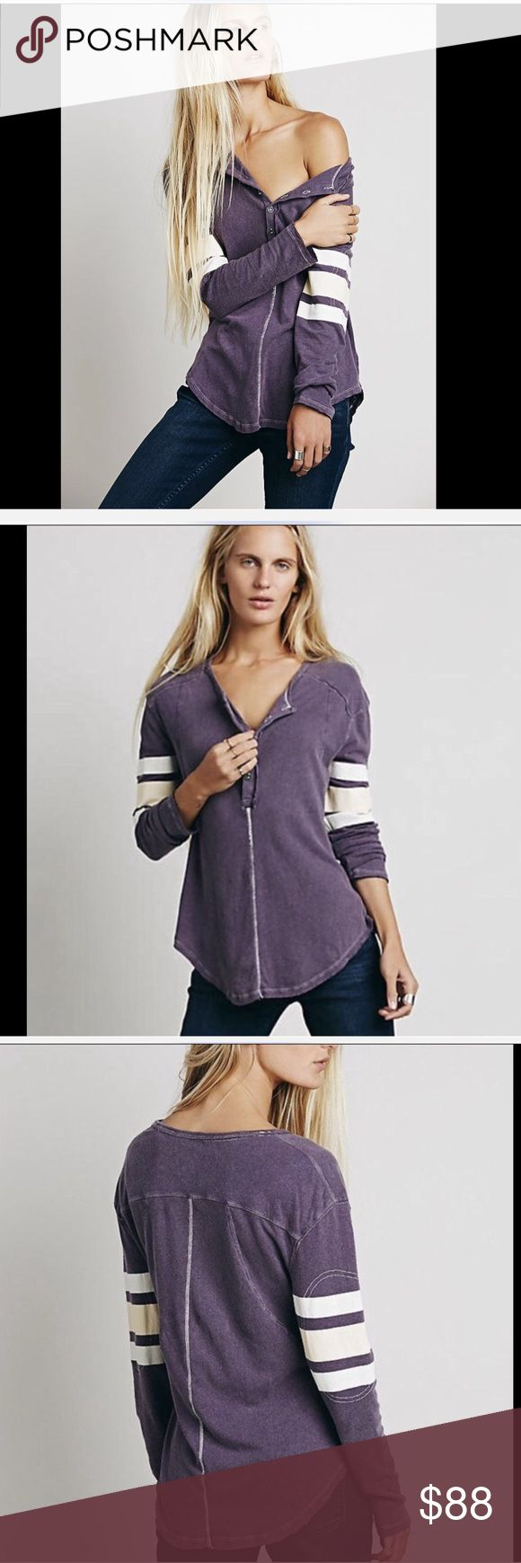 """Free People  purple Game Time Henley Top M Free People We The Free purple Game Time Henley Top """"Lived In"""" relaxed fit cotton linen blend henley top ivory, tan triple stripes on long sleeves raw trim and hem New Without Tags  *  Size:  Medium  53% linen * 47% cotton hand wash cold  measures:  46"""" around bust 26"""" long in front middle 28"""" long in back middle Free People Tops Sweatshirts & Hoodies"""