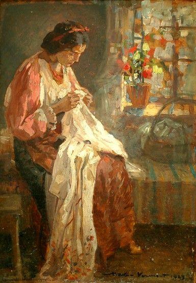 Cusătoreasa (Seamstress).- Nicolae Vermont (1866–1932)
