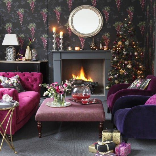 glam black and fuchsia christmas living room christmas living room decorating ideas photo gallery
