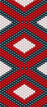 red white blue diamond peyote cuff bracelet by EyeCandybyJBWeb