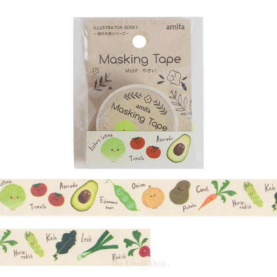 Vegetable Food Washi Tape Japanese Masking Tape by TheLovelyDesk