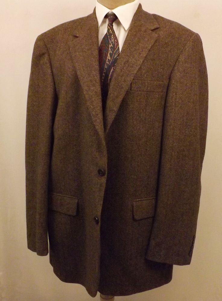 80s Chereskin Mens Sport Coat Brown Herringbone Camel Hair Size 42 L
