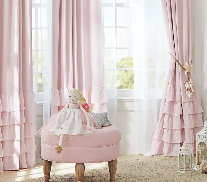 Evelyn Linen Blend Ruffle Bottom Blackout Curtain Panel Nursery Curtains Kids Curtains Pink And Grey Curtains