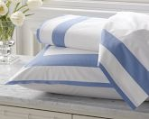 Percale Border Bedding, Flat Sheet, Full/Queen, Blue