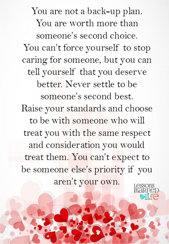 Lessons Learned in Life | You are not second best.