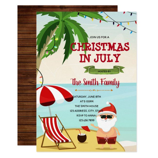 Funny Christmas In July Invitation Zazzle Com Christmas In July Christmas Humor Independence Day Card