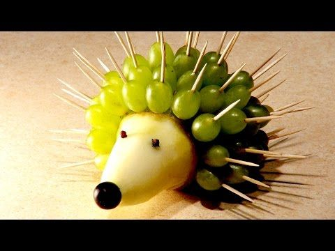 Recipes for kids. Hedgehog of Pear and Grapes - YouTube