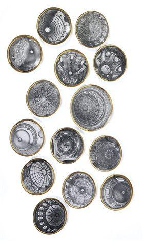 piatti decorativi d'epoca Cupole d'Italia (set di 14, 1 lrgr) di Piero Fornasetti