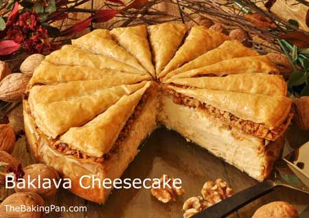 Baklava Cheesecake - ooey gooey nutty meets rich and creamy.  Shared a piece of this at a Greek Diner today with the family, only difference was the diner used a layer of baklava (with nuts) for the crust as well. Wow, dangerous!  Sharing only one piece is definitely recomended!