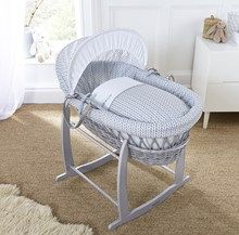 What's better in your baby's nursery than a super cosy, lightweight sturdy wicker Moses basket that's also stylish? Inspired by minimalist Scandinavian home decor trends the Clair de Lune Barley Bébé Grey Wicker Moses Basket ticks all the right boxes! Made in the UK from snugly soft cotton fabrics with adjustable hood, carry handles and mattress featuring a graphic leaf print. Available in Blue, Grey and Pink. What are you waiting for? Check it out!