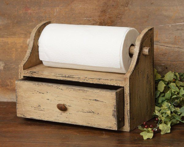 Distressed Tan Paper Towel Holder With Drawer