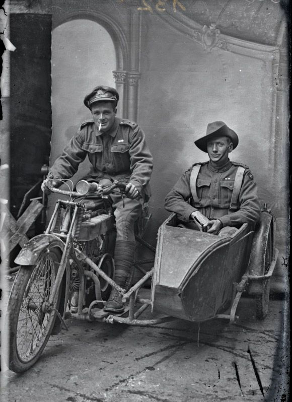 seahorsesandpearls:  Two Australian soldiers on leave in France,c. 1916 (Sidney Hubert Carroll is in the side car)