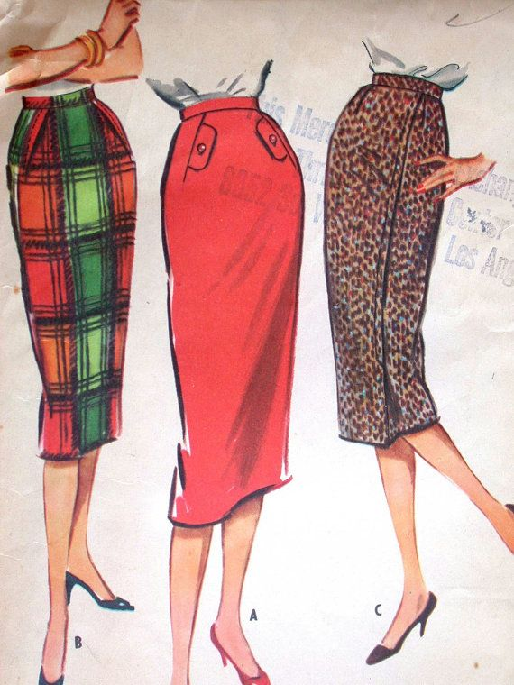 "McCalls Skirt Pattern No 4680 Vintage 1950s Waist 26"" Slim Instant Skirt Skirt Pattern Cut in One Piece Back Zipper Wiggle"