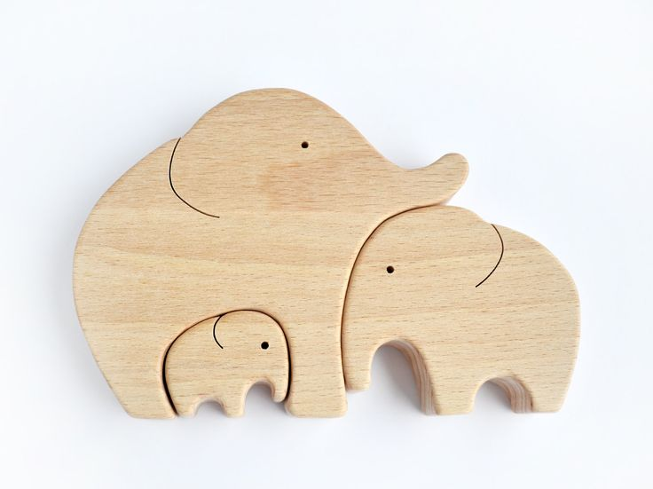 Elephant Family Wooden Puzzle by WoodAndYarnToys