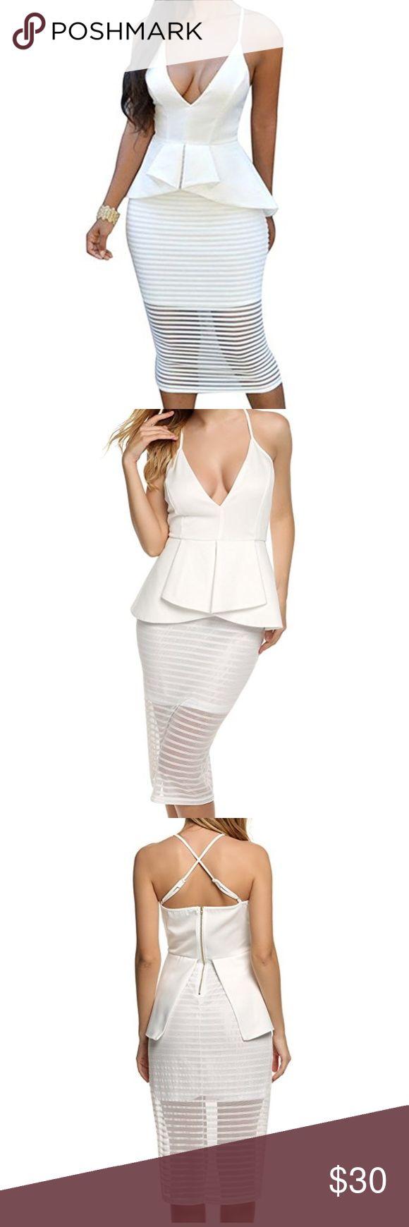 White peplum dress Cute white peplum dress with sheer bottom. Dresses Midi
