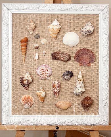 Diy framed shell wall art shell art burlap frames and shell for Seashell art projects