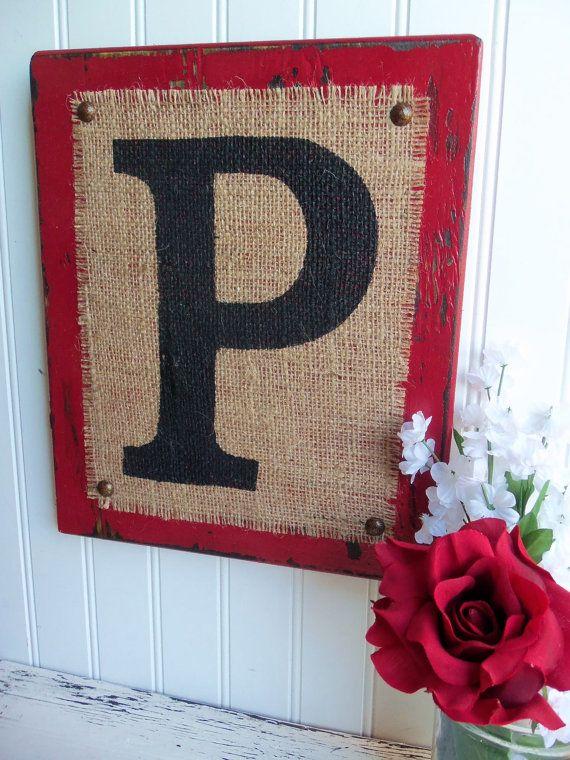 Burlap Monogram P or you choose letter red by OldAndNewShoppe