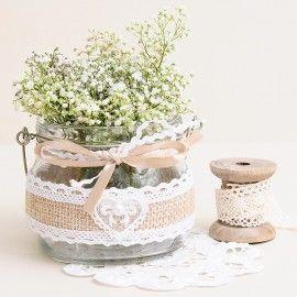 Tarro de cristal rustico con yute para flores