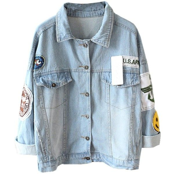Mooncolour Womens Novelty Badge Wash Blue Denim Jacket ($33) ❤ liked on Polyvore featuring outerwear, jackets, shirts, coats, tops, blue jean jacket, blue denim jacket, denim jacket, jean jacket and blue jackets