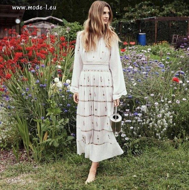 Langarm Boho Stickerei Maxi Kleid In Weiss Weisses Kleid Winter Langes Kleid Party Maxikleid Mit Blumen