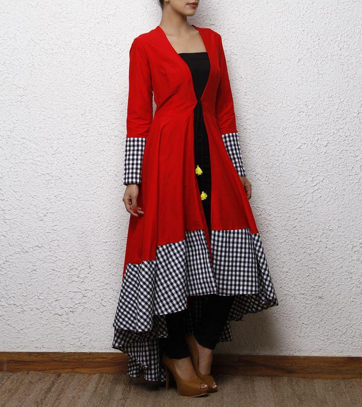Red Cotton Silk Wrap Dress