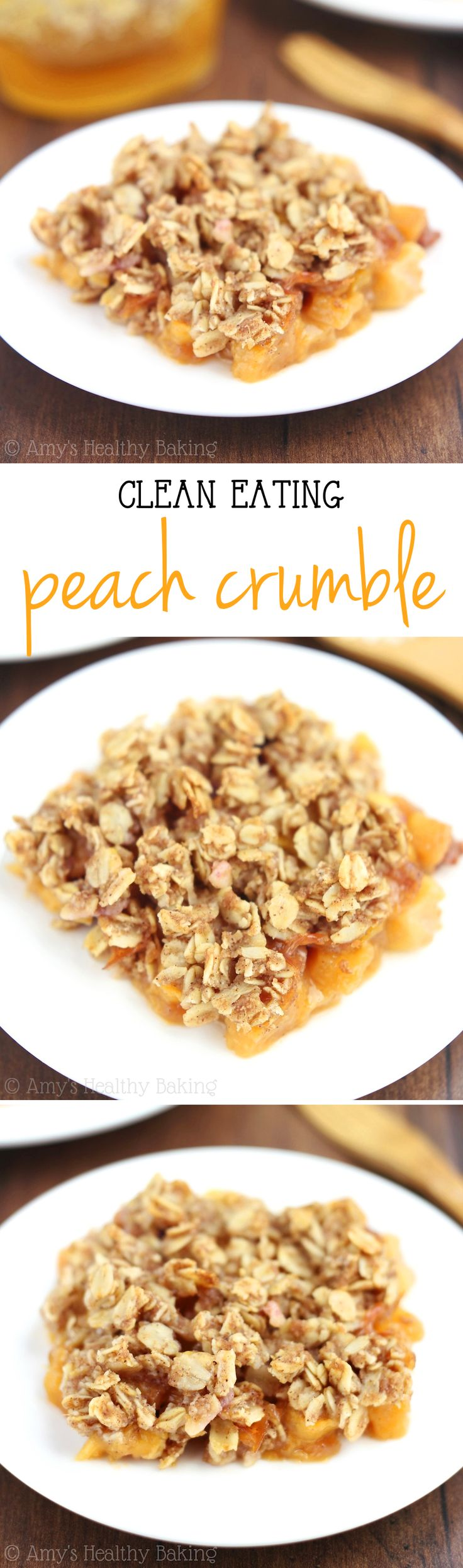 Clean-Eating Peach Crumble -- this easy dessert is healthy enough for breakfast! It has a full serving of fruit & barely 100 calories!