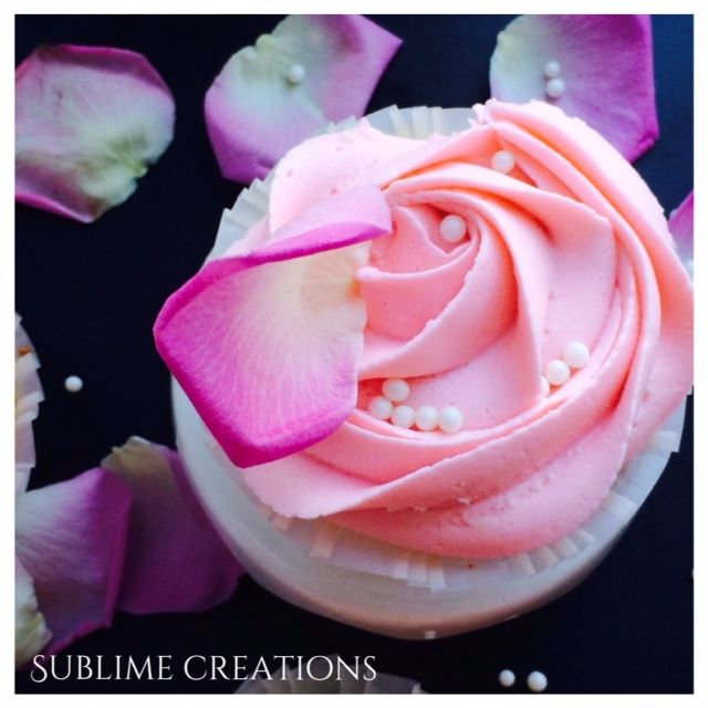 Our rosewater vanilla bean cupcake. This cupcake has romance written all over it! Perfect for weddings or bridal showers. www.mysublimecreations.com