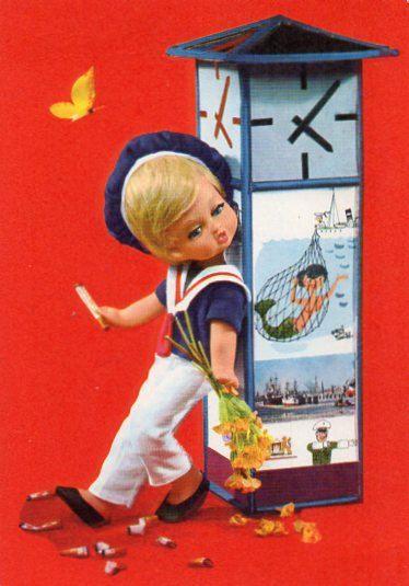 Vintage velvet  doll postcard  60s van CuteEyeCatchers op Etsy