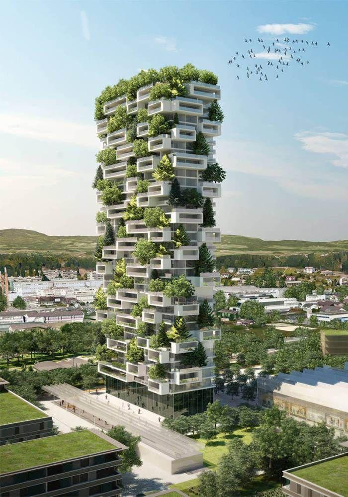 La Tour des Cedres. El primer edificio del mundo cubierto de árboles de hoja…