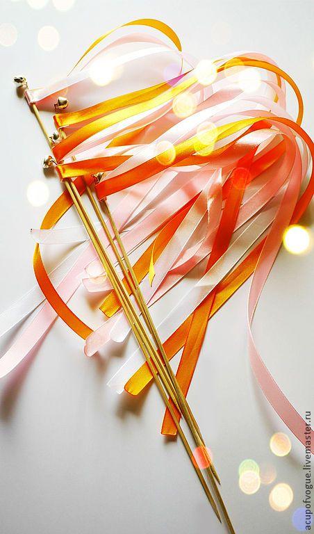 Поздравительные палочки с лентами и бубенчиком для встречи молодоженов - Людмила (acupofvogue) - Ярмарка Мастеров