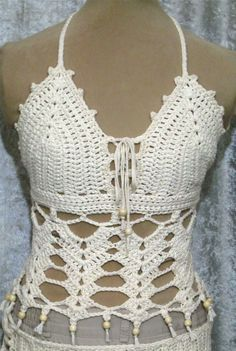 Off White Cream Crochet Halter Crop Festival Top/ Bathing Suit Cover