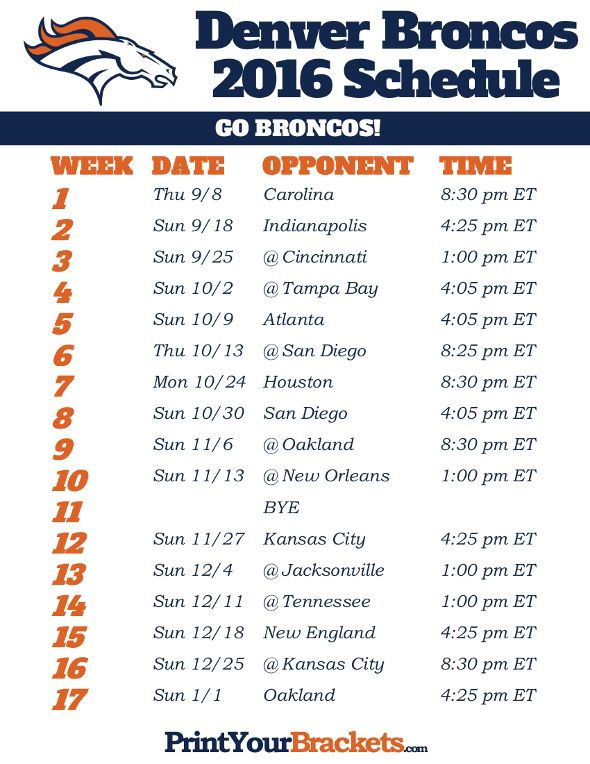 Denver Broncos Schedule - 2016