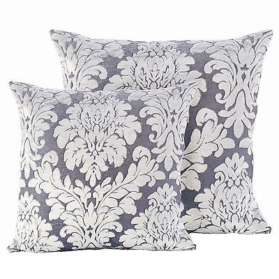 Luxury Damask Velvet Silver Cushions - Soft Scatter Small & Large Cushion Cover