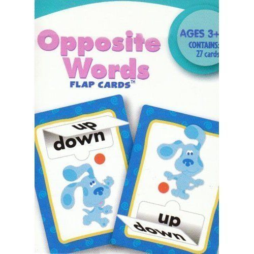 Blue's Clues Opposite Words Flap Flash Cards by Learning Horizons. $2.99. Learn Opposite Word Pairs, Develop Visual Discrimination, enhance early Reading skills!. With Opposite Words, your child can play with Blue and her friends and: Understand what opposites are. Contains 26 two sided cards with flaps and one parent card with ideas for activities. These full color, two sided cards are designed to build language, reading, and math skills through practice and repetiti...