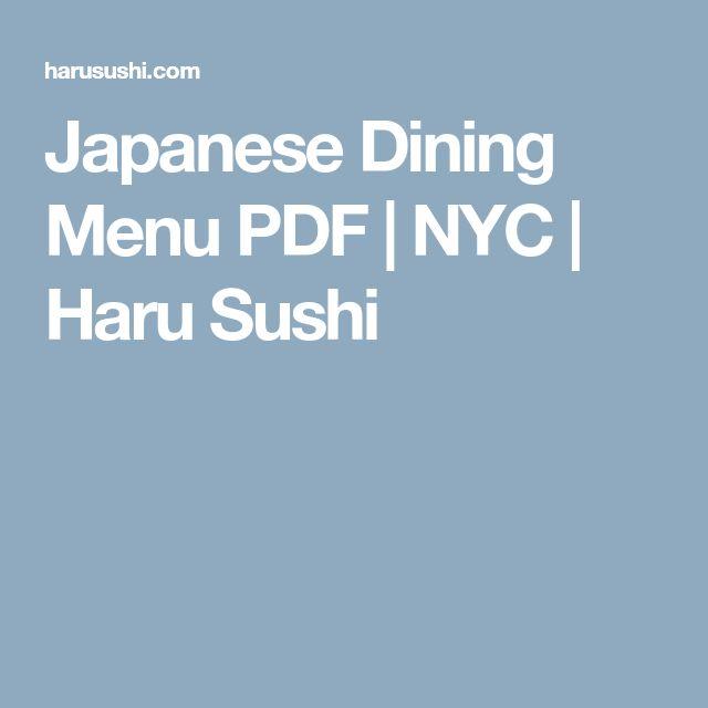 Japanese Dining Menu PDF | NYC | Haru Sushi