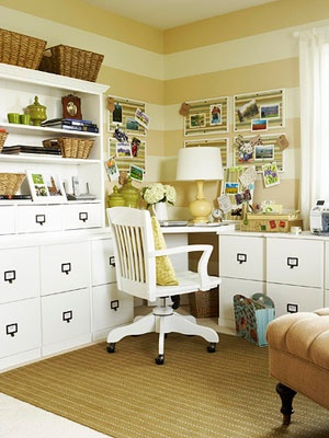 Pretty, organized office. : Desks Chairs, Stripes Wall, Offices Design, Crafts Rooms, Offices Ideas, Offices Storage, Storage Ideas, Design Home, Home Offices