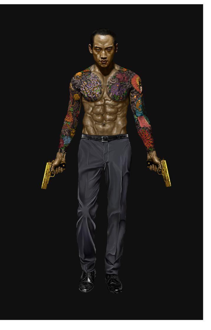 shadowrun; male; human; asian; tattoo; gunslinger; dark-haired
