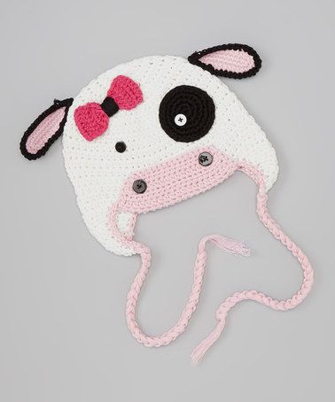 Love this White & Pink Cow Crochet Earflap Beanie by chéri by Bébé Oh La La on #zulily! #zulilyfinds