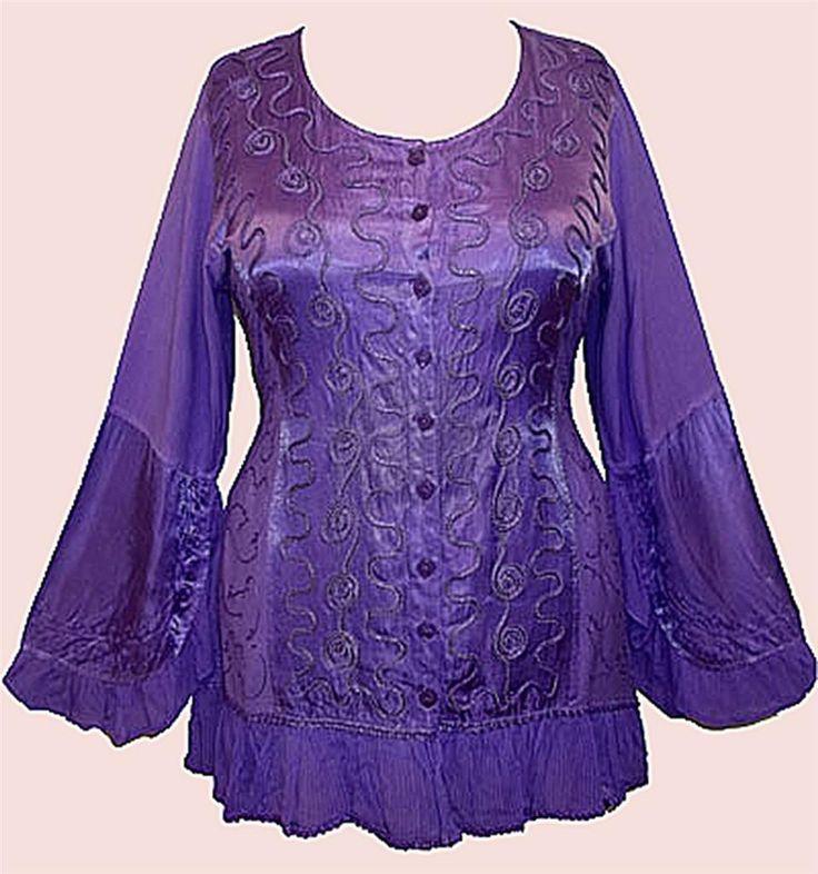 NEW Eaonplus Renaissance Poet Sleeve Satin Lace Tunic Top Plus Sizes UK 14 to 32 | eBay