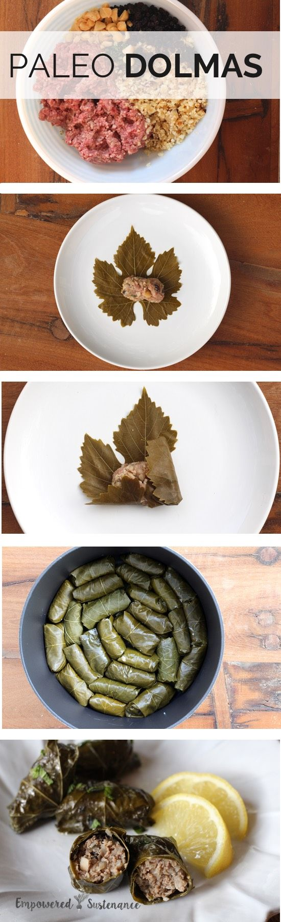Easy recipe for paleo dolmas, which uses cauliflower rice instead of white rice.