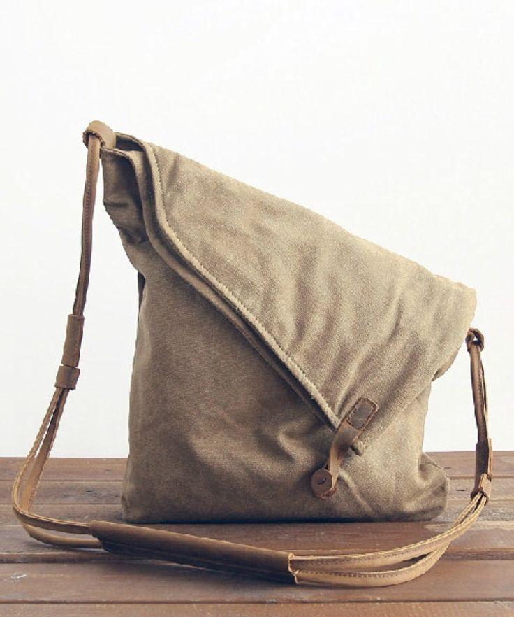 Khaki Canvas Shoulder Bag, Canvas H