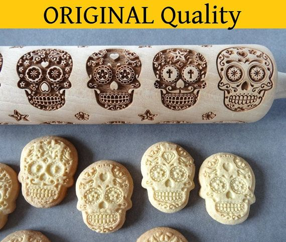 Day of Death Sugar Skulls engraved rolling pin by LovelyPrices