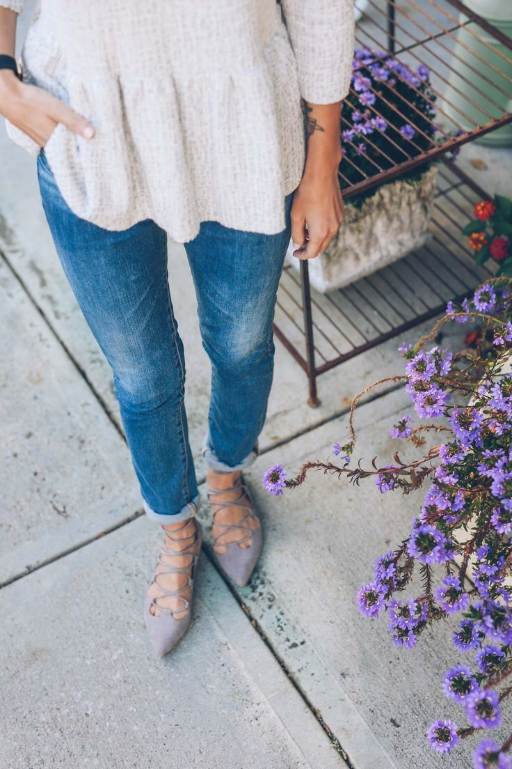 jeans and lace up flats