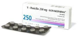 Ilustrační obrázek léčiva V-Penicilin 250 mg. Příbalový leták naleznete na http://www.pribalovy-letak.cz/1175-v-penicilin-250-mg-slovakofarma.